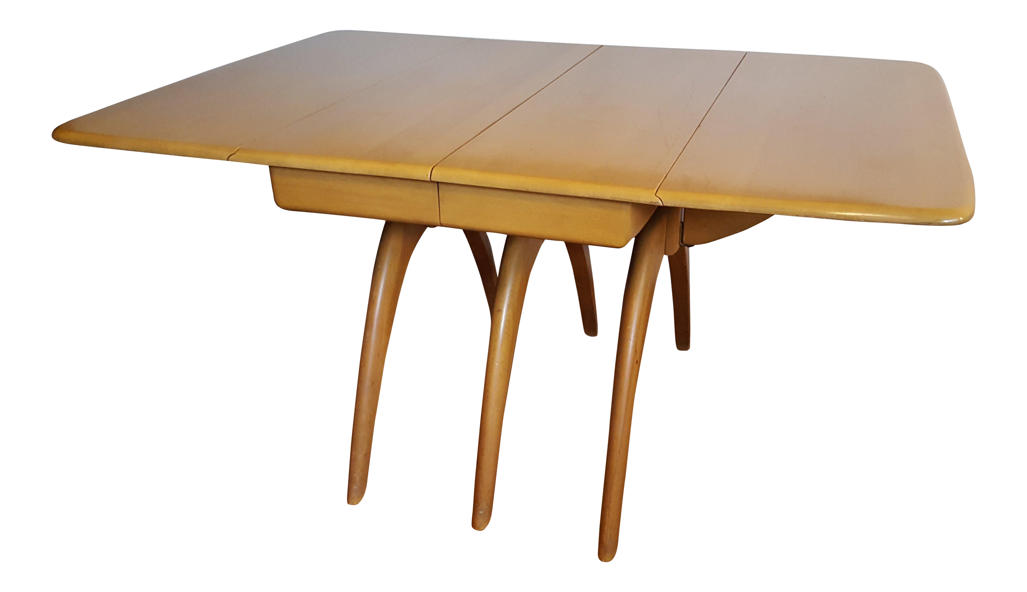 Genial 1950s Mid Century Modern Heywood Wakefield Wishbone Triple Pedestal Table  Champagne Finish Drop Leaf Dining Table