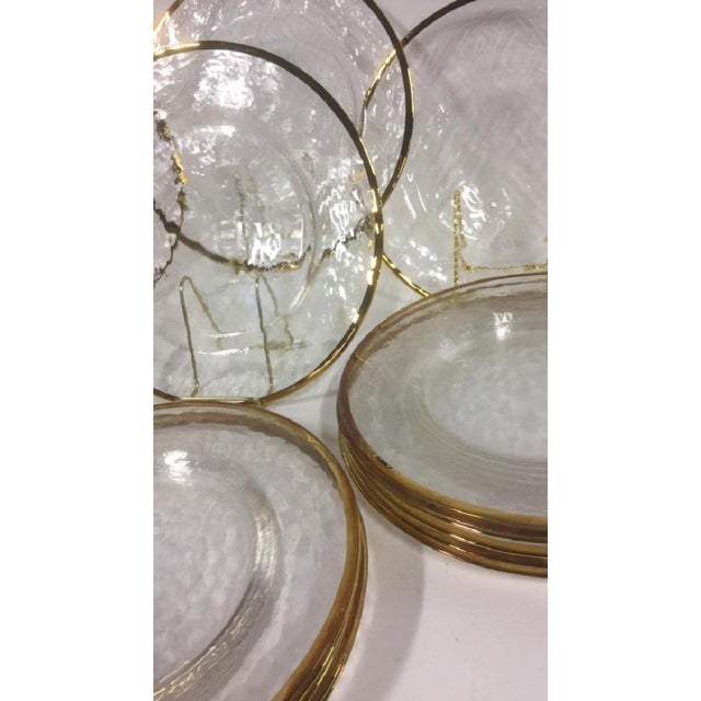 Lot 20 Glass Dinner Plates / Servers with Gold Toned Trim.