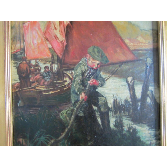 Young Boy Fishing Oil Painting For Sale - Image 9 of 10