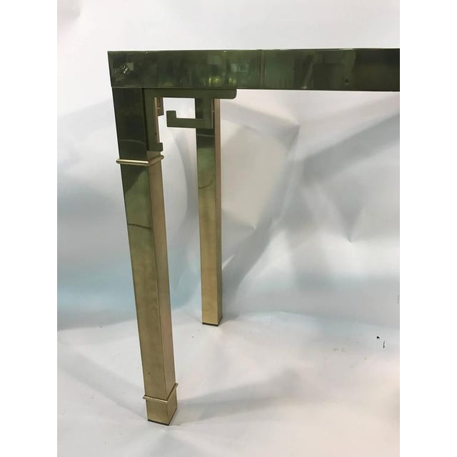 Gold ELEGANT ITALIAN SOLID BRASS CONSOLE TABLE WITH GREEK KEY DESIGN For Sale - Image 8 of 10