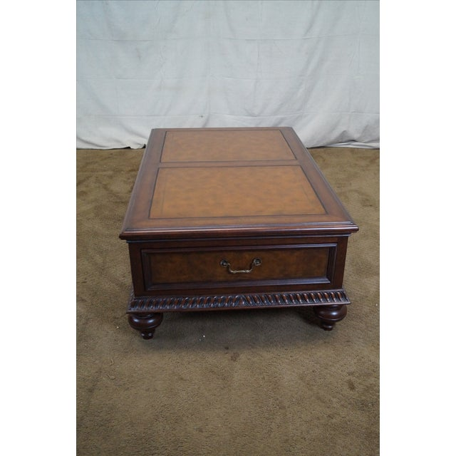 Ethan Allen Leather Top Morley Coffee Table - Image 9 of 10