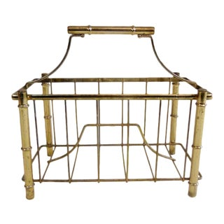 Vintage Brass Chinese Chippendale Magazine Rack For Sale