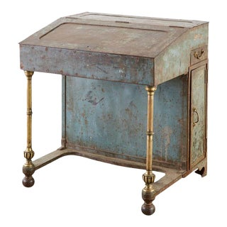 19th Century English Iron Bronze Industrial Davenport Desk For Sale