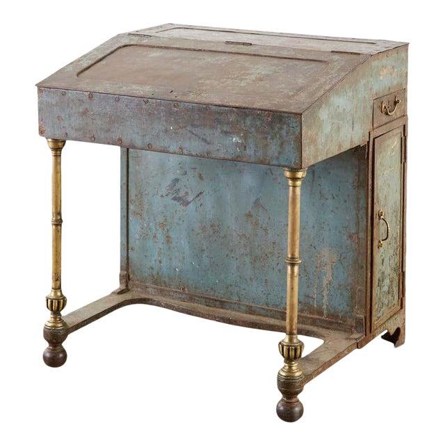 19th Century English Iron Bronze Industrial Davenport Desk For Sale