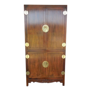 Henredon Asian Campaign Style Walnut Armoire For Sale