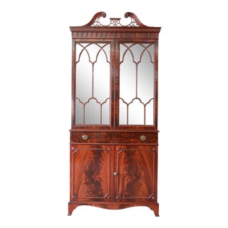 Antique Romweber Flame Mahogany Glass Front Cabinet