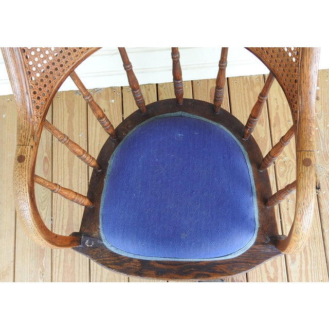 Wood Antique Oak Cane Back Chair For Sale - Image 7 of 10