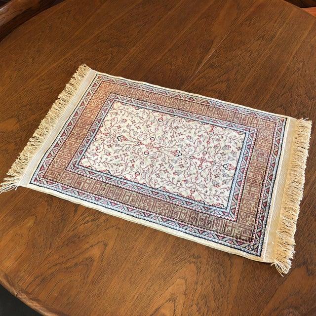 Late 20th Century Silk on Silk Small Turkish Kayseri Handmade Rug For Sale - Image 5 of 13
