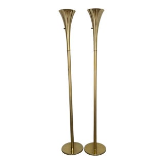 1960s Laurel Brass Torchiere Floor Lamps - a Pair For Sale