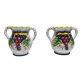 Late 20th Century Italian Decorative Pottery Handled Vases- A Pair For Sale