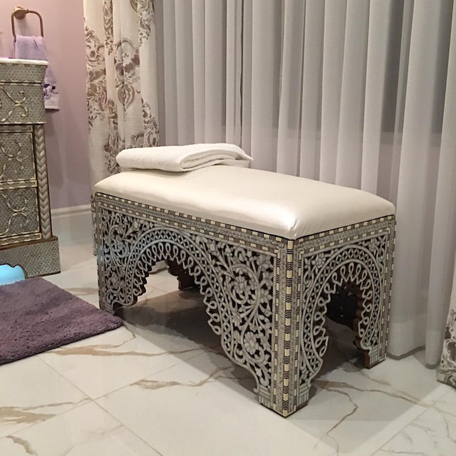 Mother of Pearl Inlay Bench For Sale - Image 4 of 8