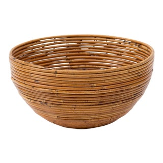 Vintage Italian Pencil Reed Rattan Bowl For Sale