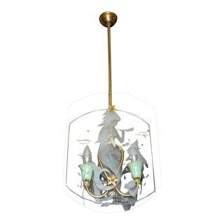 Italian Fontana Arte Style Etched Glass Mermaid Pendant Light For Sale
