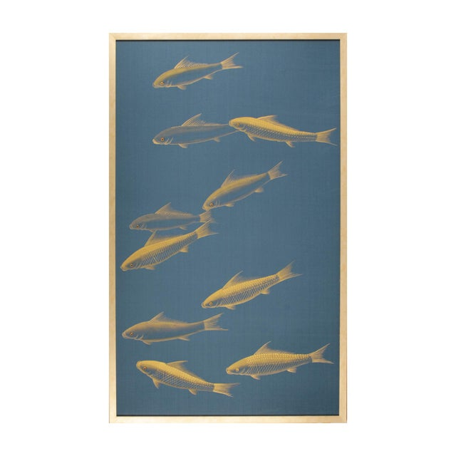 Japonisme Hand-Painted Silk Panel Framed, Gold Fish on Blue For Sale In Los Angeles - Image 6 of 6