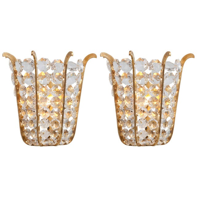 1960s Austrian Beaded Crystal Sconces - A Pair For Sale - Image 5 of 5