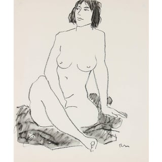 Rip Matteson Seated Female Figure Drawing in Ink and Charcoal, 20th Century For Sale