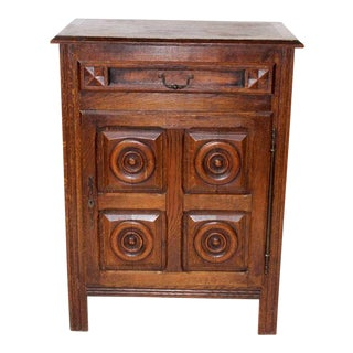 20th Century French Country Rustic Carved Oak Storage Cabinet For Sale