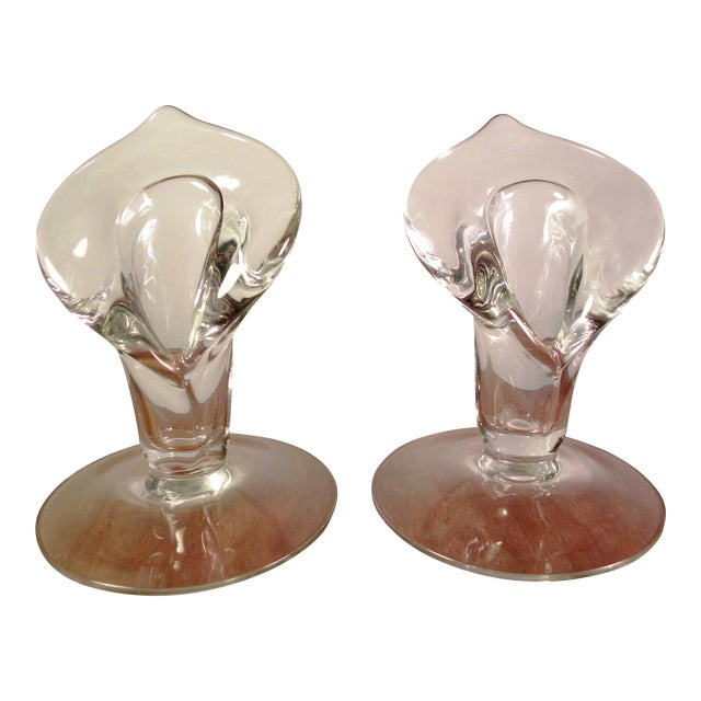 Vintage Hand Blown Art Glass Cala Lily Candle Holders - Set of 2 For Sale