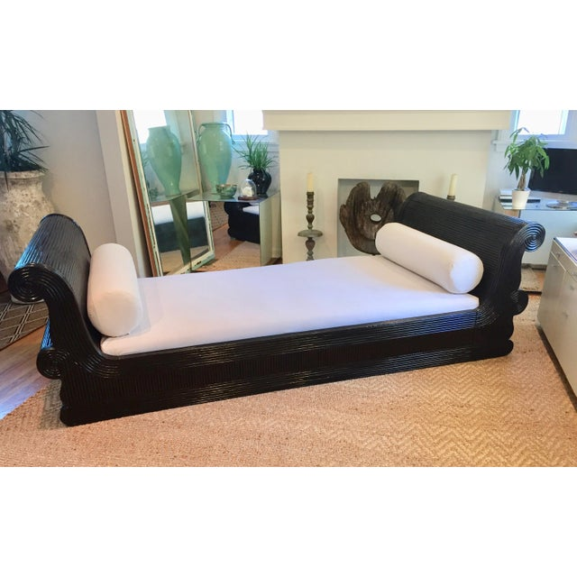 Exotic Asian Split Dark Dyed Reed Rattan Daybed For Sale - Image 13 of 13