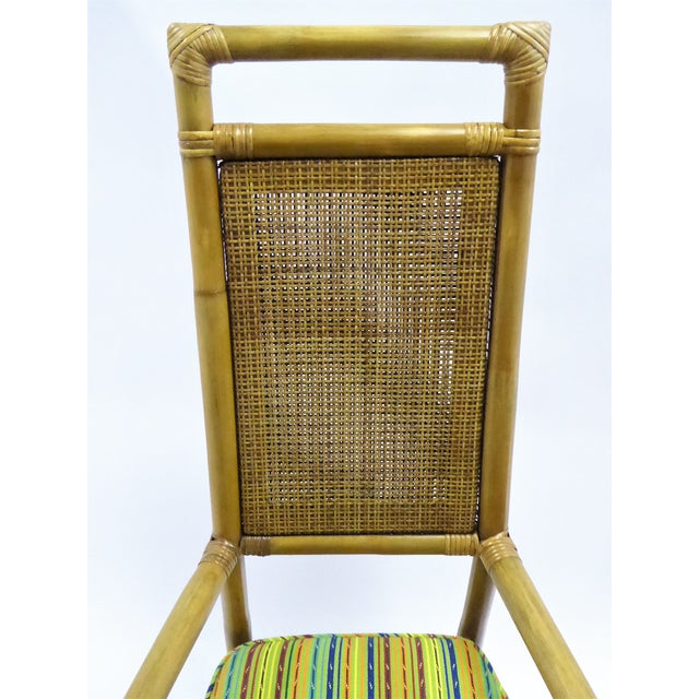 Caning Pair of Tommi Parzinger High Back Rattan Armchairs for Willow & Reed Pavillion Collection, 1950s For Sale - Image 7 of 13