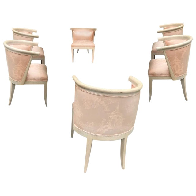 Harold Schwartz for Romweber Mid-Century Modern Limed Oak and Silk Barrel Chairs - Set of 6 For Sale