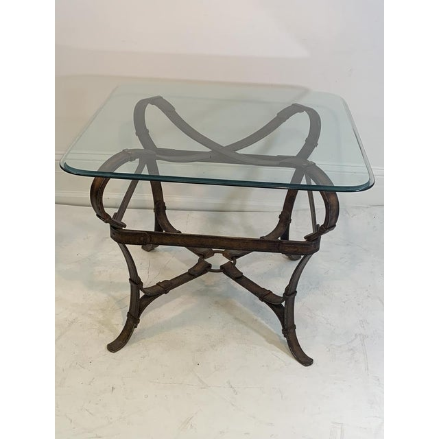 Modern Hermes Equestrian Iron Strap Side Table For Sale - Image 3 of 13