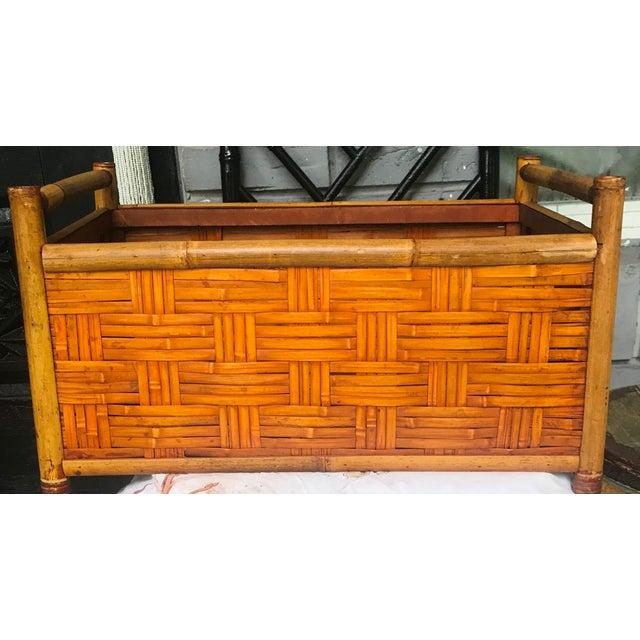 Saffron Vintage Handmade Woven Reed Cane & Rattan Basket For Sale - Image 8 of 10
