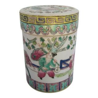 Vintage Chinoiserie Porcelain Tea Caddy For Sale