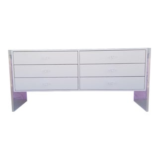 Vintage White Melamine and Lucite Legs Sideboard / Credenza For Sale