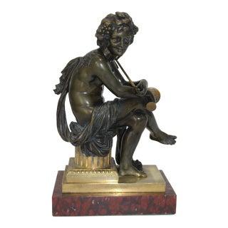 European Tour Bacchus Bronze Sculpture on Gilt and Rouge Royale Marble Base For Sale
