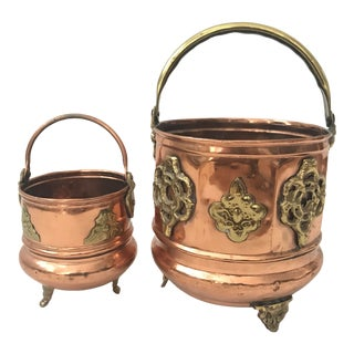 Copper Brass Decorative Planters Handle Footed For Sale