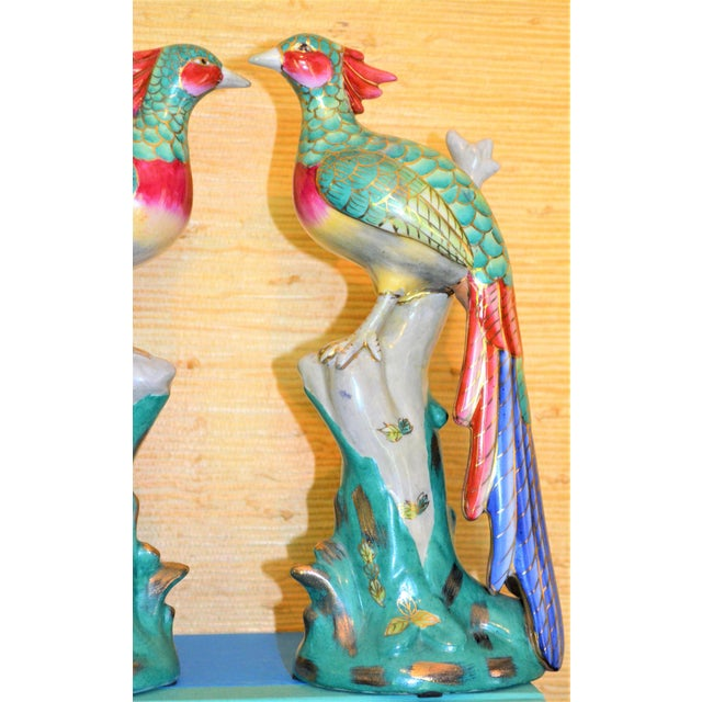 Chinese Export Porcelain Pheonix Bird Figurines - a Pair For Sale - Image 12 of 13