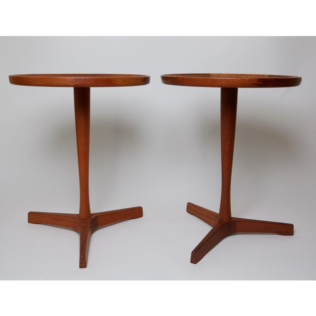 Two signed Hans C. Anderson Danish Modern midcentury teak side tables or end tables with wood top and one with...