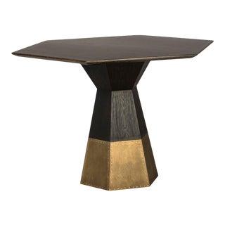 Ebony Oak & Brass Hexagon Table For Sale