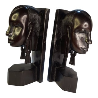 1980s African Handcarved Ebony Bookends - a Pair For Sale