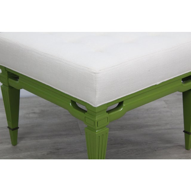 Mid-Century Cream Linen Benches, a Pair For Sale - Image 4 of 13