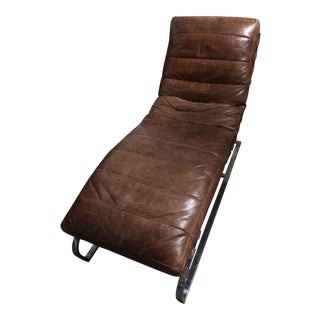 Brown Leather Chaise Lounge For Sale