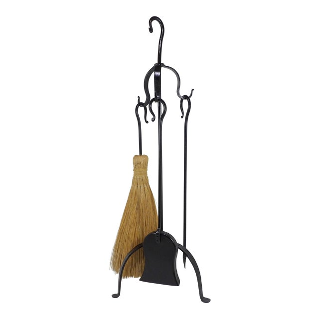 Rustic Wrought Iron Shovel Poker Brush & Rack Fireplace Tool Cabin Set For Sale