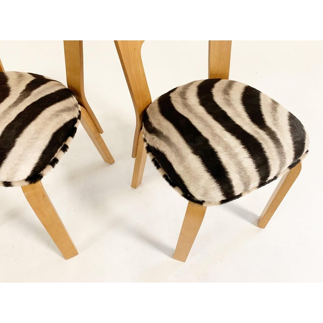 Artek Alvar Aalto Model 66 Chairs in Zebra Hide, Pair For Sale - Image 4 of 9