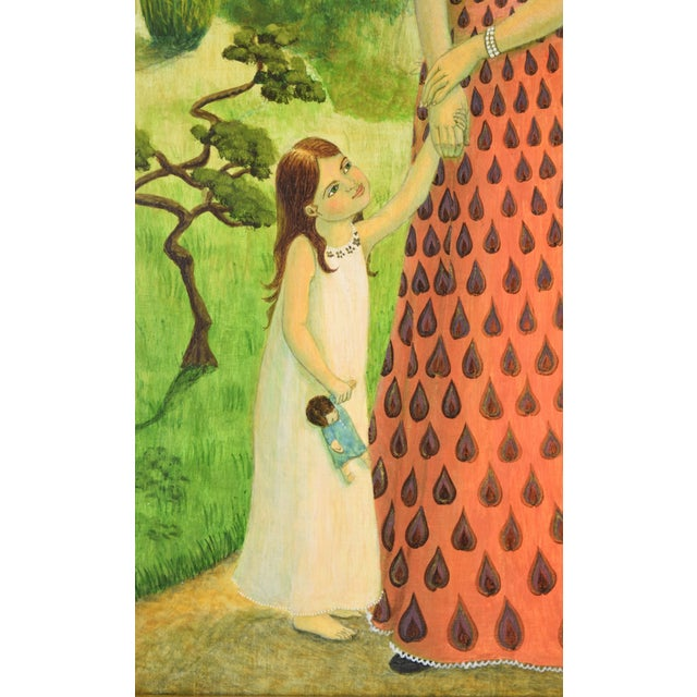Lovely oil painting on wood board of a mother in a patterned dress walking down a pathway with her young daughters. The...