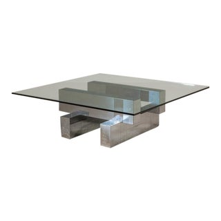 Paul Evans Style Chrome Coffee Table 1980s For Sale