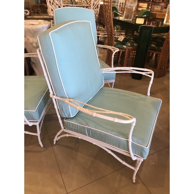 Vintage Sunbrella Faux Bamboo Powder-Coated Metal Lounge Patio Chairs - Set of 3 For Sale - Image 4 of 13