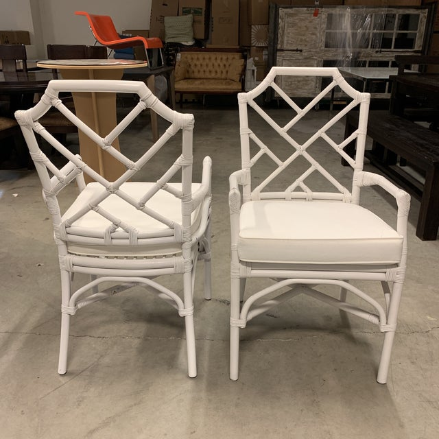 2010s New New Pacific Direct Kara Rattan White Arm Chairs For Sale - Image 5 of 12