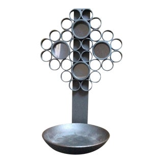 Decorative Gray Modernist Metal Bubble Candle Holder For Sale