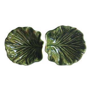 Vintage Green Cabbage Leaf Pottery Bowls - A Pair