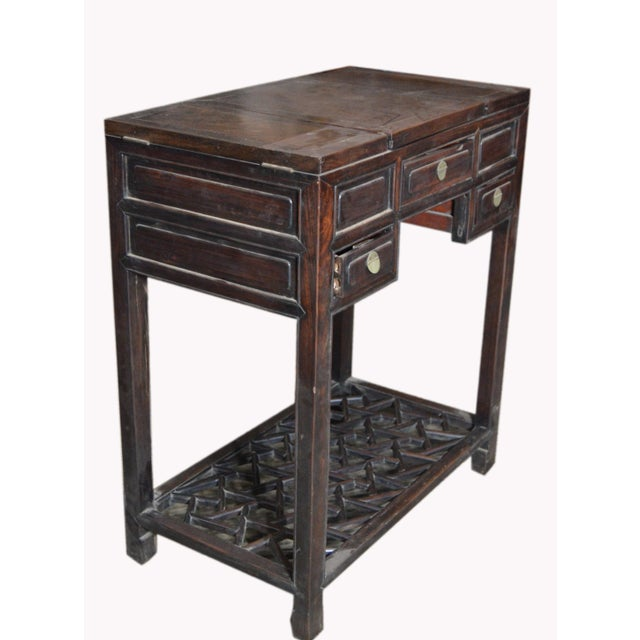 Chinese Vintage Dark Lacquered Wood Dressing Table With Mirror and Drawers For Sale - Image 4 of 8