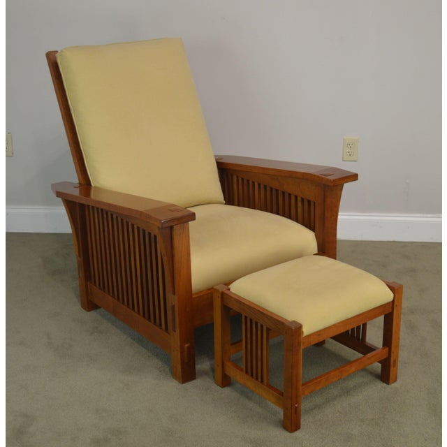 High Quality American Made Solid Cherry Wood Morris Chair with Matching Foot Stool