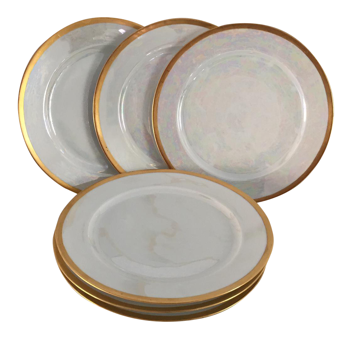 Vintage Lustreware Thomas Bavaria Gold Rim White Salad Plates - Set of 6 | Chairish  sc 1 st  Chairish & Vintage Lustreware Thomas Bavaria Gold Rim White Salad Plates - Set ...