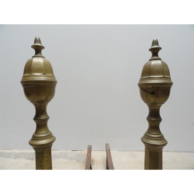 Mid 19th Century Antique Brass & Iron Andirons - A Pair For Sale - Image 5 of 8