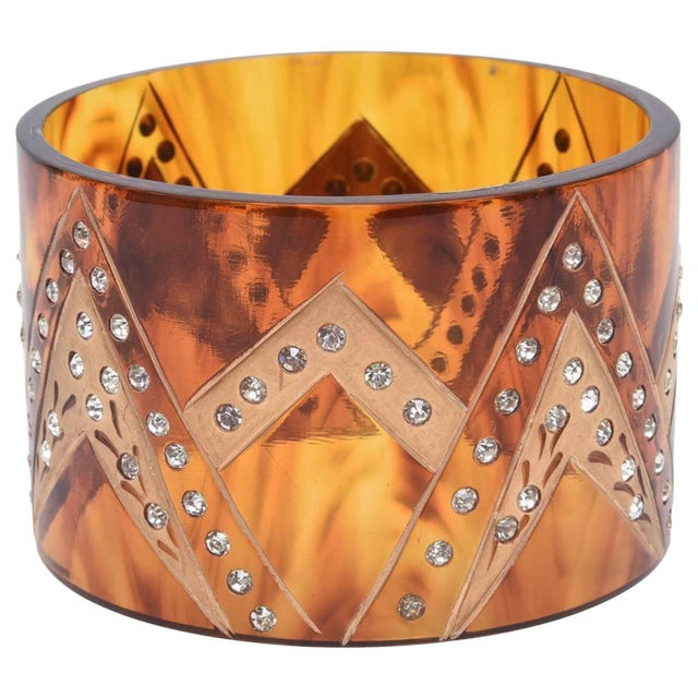 French Tortoise Resin and Rhinestone Cuff Bracelet For Sale - Image 10 of 10